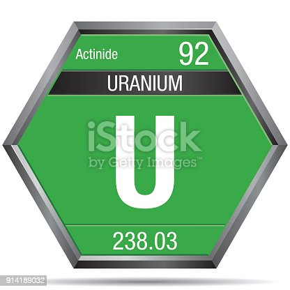 Uranium Symbol In The Form Of A Hexagon With A Metallic Frame