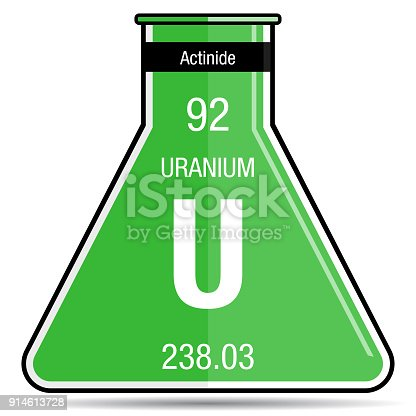 Uranium Symbol On Chemical Flask Element Number 92 Of The Periodic