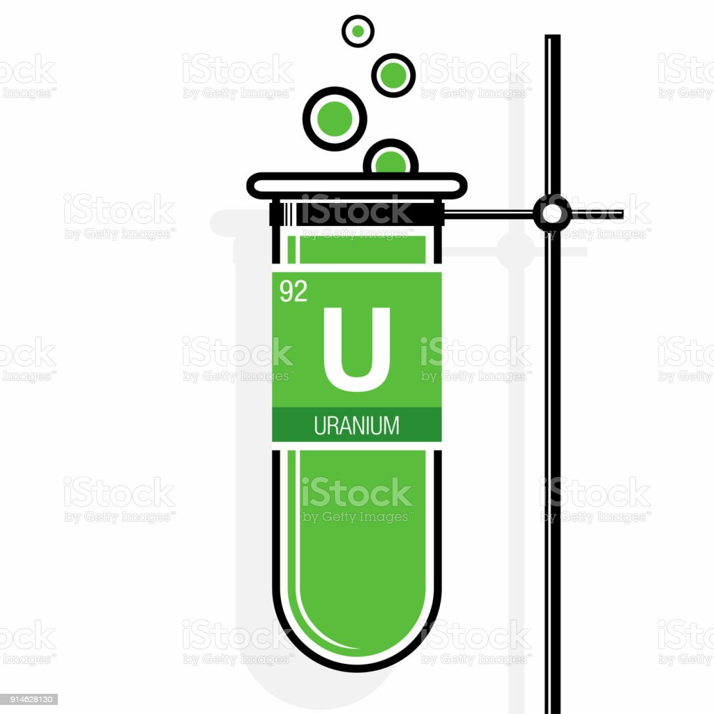 uranium symbol on label in a green test tube with holder element number 92 of - Periodic Table Of Elements Uranium