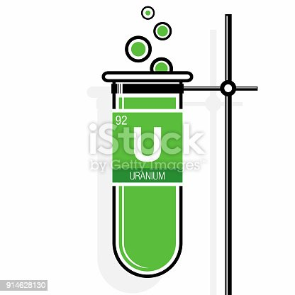 Uranium Symbol On Label In A Green Test Tube With Holder Element