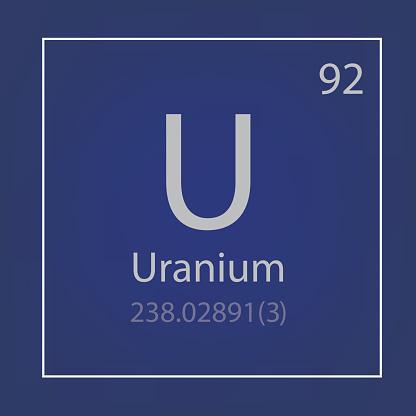 Uranium U chemical element icon