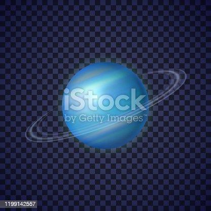 istock Uranus planet with rings of gas illustration 1199142557