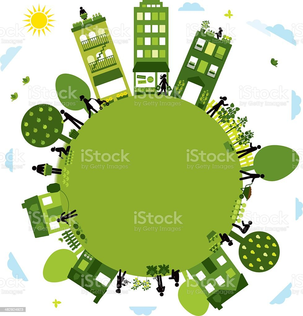 Urban Agriculture Community royalty-free stock vector art