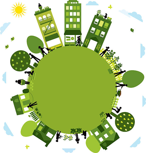 Urban Agriculture Community Urban farming community - circle design urban gardening stock illustrations