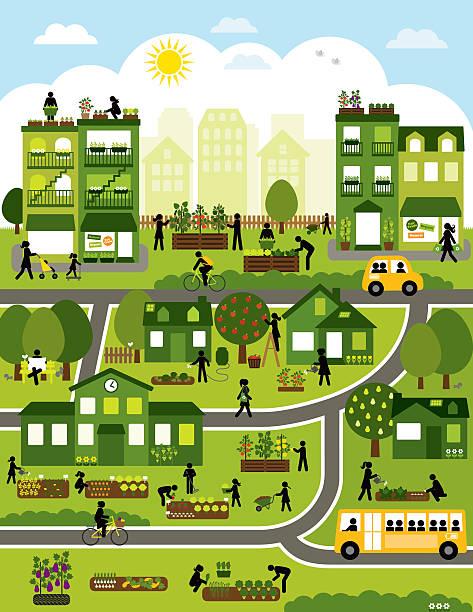Urban Agriculture Community Urban Agriculture - map design urban gardening stock illustrations