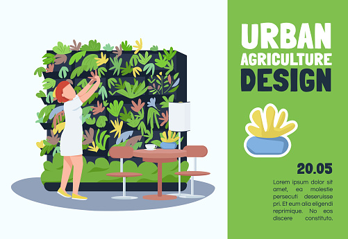 Urban agriculture design banner flat vector template. Brochure, poster concept design with cartoon characters. Interiors floral decoration service horizontal flyer, leaflet with place for text