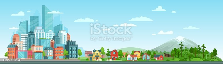istock Urban and nature landscape. Modern city buildings, suburban houses and wild forest vector illustration. Contemporary metropolis with skyscrapers, suburbs with cottages and woods composition 1195021264