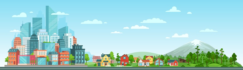 Urban and nature landscape. Modern city buildings, suburban houses and wild forest vector illustration. Contemporary metropolis with skyscrapers, suburbs with cottages and woods composition