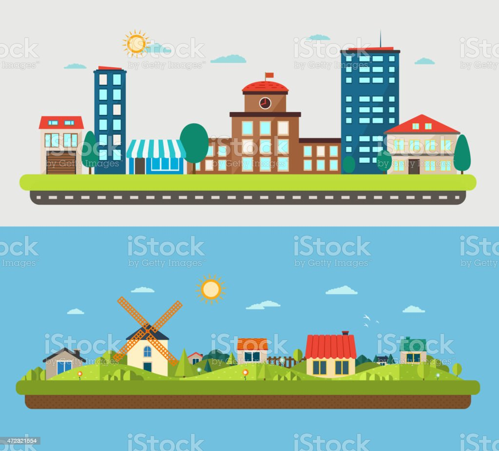 Urban and village landscapes on blue and light background vector art illustration