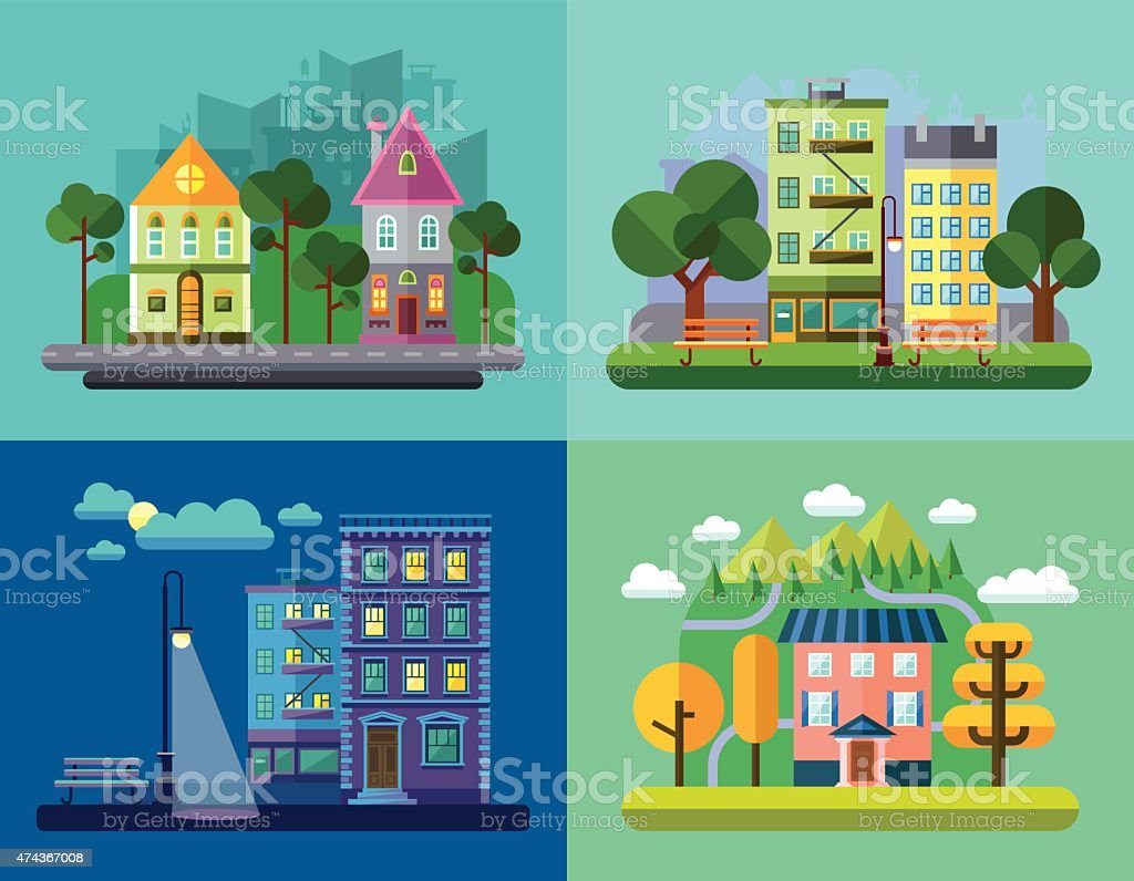 Urban and Village Landscapes vector art illustration