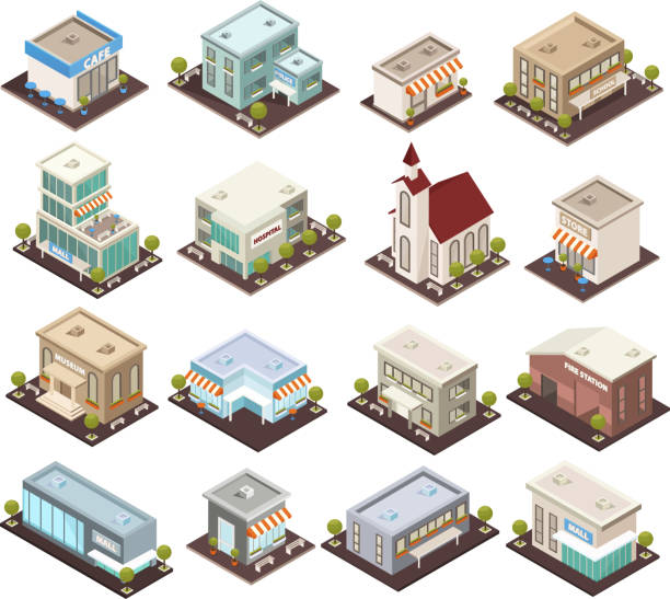 urban architecture isometric icons Urban architecture historical and modern public buildings isometric icons set with museum cafe hospital isolated vector illustrations isometric stock illustrations