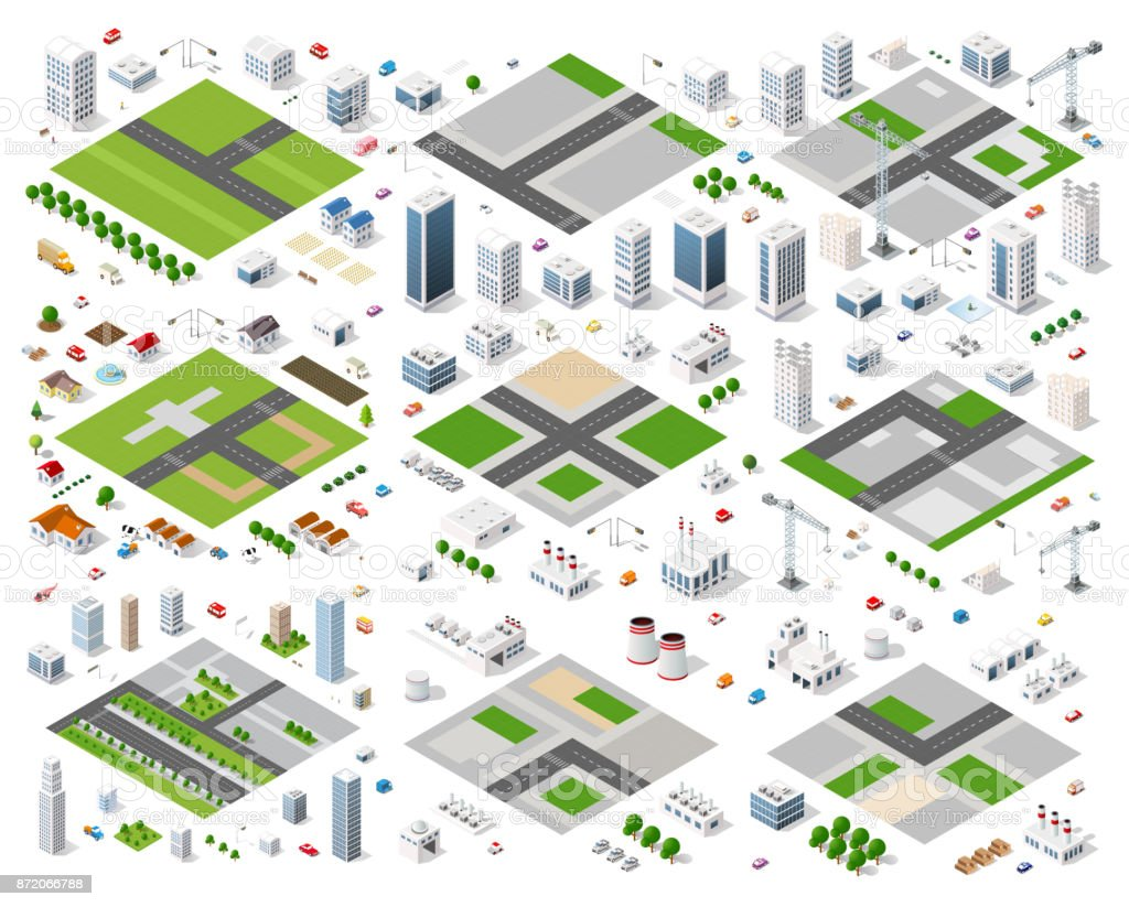 Urban area of the city vector art illustration