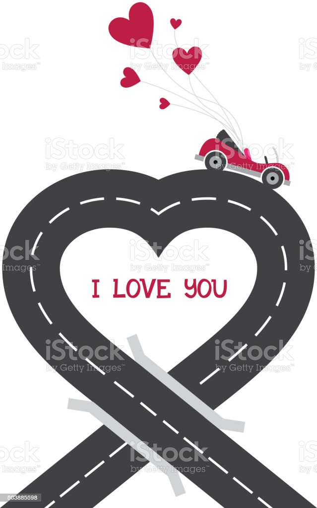 Urban asphalt road heart with cabriolet car vector art illustration