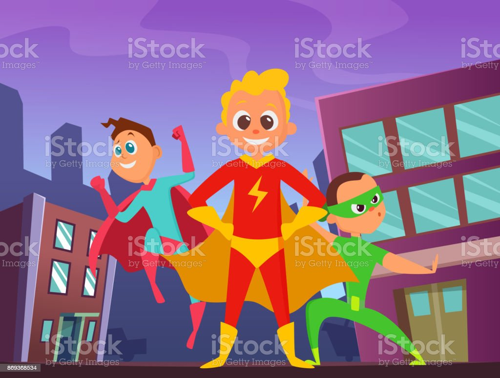 Urban background with superhero kids in action poses. Illustrations...