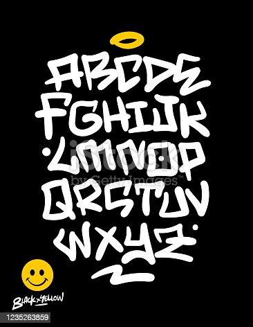 Handwritten urban based graffiti font, textures and symbols