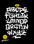 Handwritten urban based graffiti font, textures and symbols