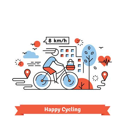 Urban bike path happy cycling woman