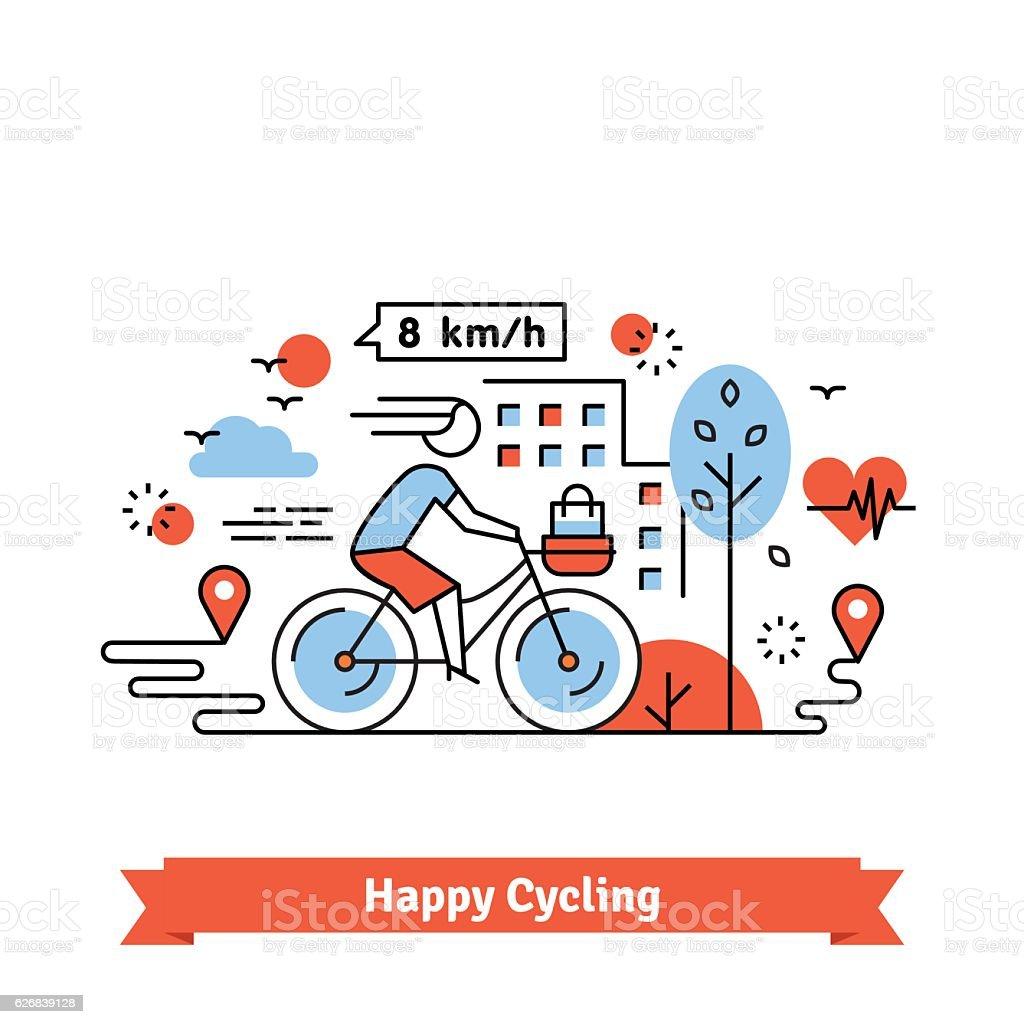 Urban bike path happy cycling woman - ilustração de arte em vetor