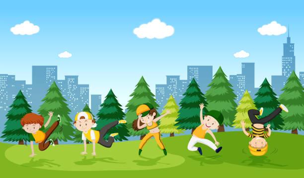 bildbanksillustrationer, clip art samt tecknat material och ikoner med urban pojke streetdance i parken - street dance