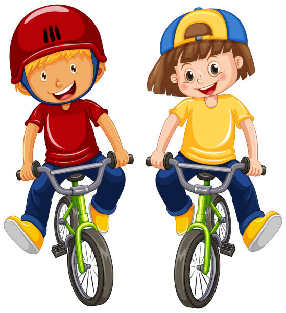 Urban Boys Riding Bicycle on White Background vector art illustration