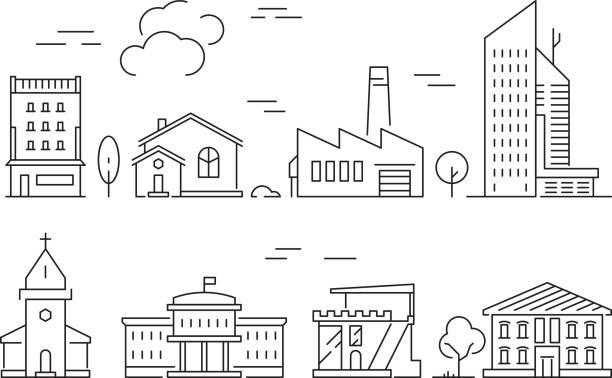 städtische bauten symbol. häuser wohnzimmer villa außen s vector linear symbole isoliert - villas stock-grafiken, -clipart, -cartoons und -symbole
