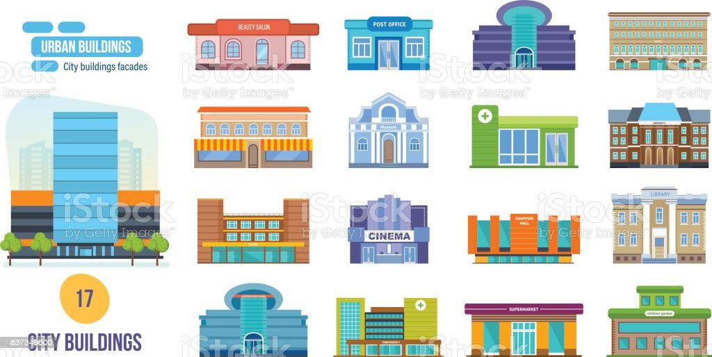 Urban buildings: salon, post, cinema, school, hotel, shop, museum, library
