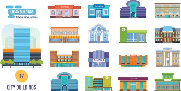 ilustrações, clipart, desenhos animados e ícones de prédios urbanos: salão de beleza, post, cinema, escola, hotel, loja, museu, biblioteca - shopping