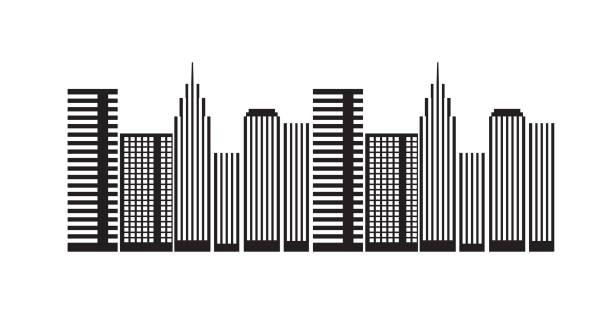 städtische bauten wolkenkratzer-architektur - halbwände stock-grafiken, -clipart, -cartoons und -symbole