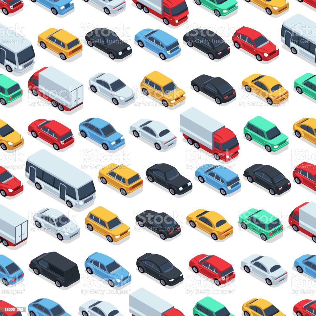 Urban cars seamless texture. Vector background. Isometric cars - illustrazione arte vettoriale