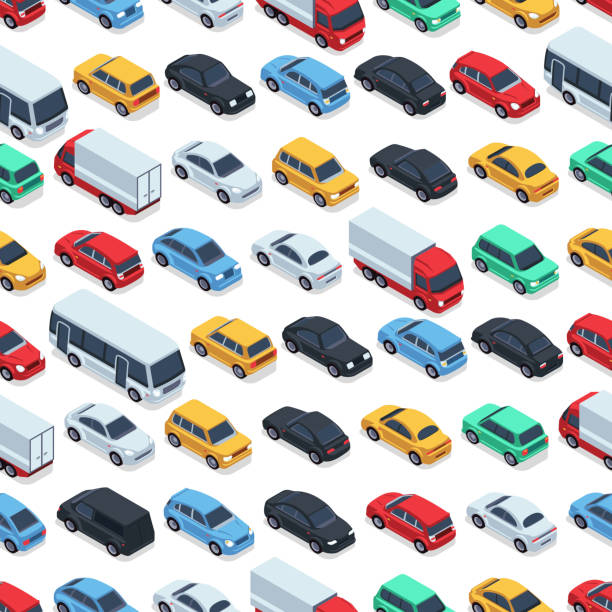 illustrazioni stock, clip art, cartoni animati e icone di tendenza di urban cars seamless texture. vector background. isometric cars - car