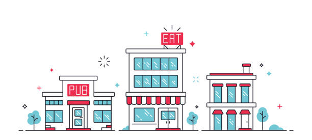illustrazioni stock, clip art, cartoni animati e icone di tendenza di urban city buildings - grocery home