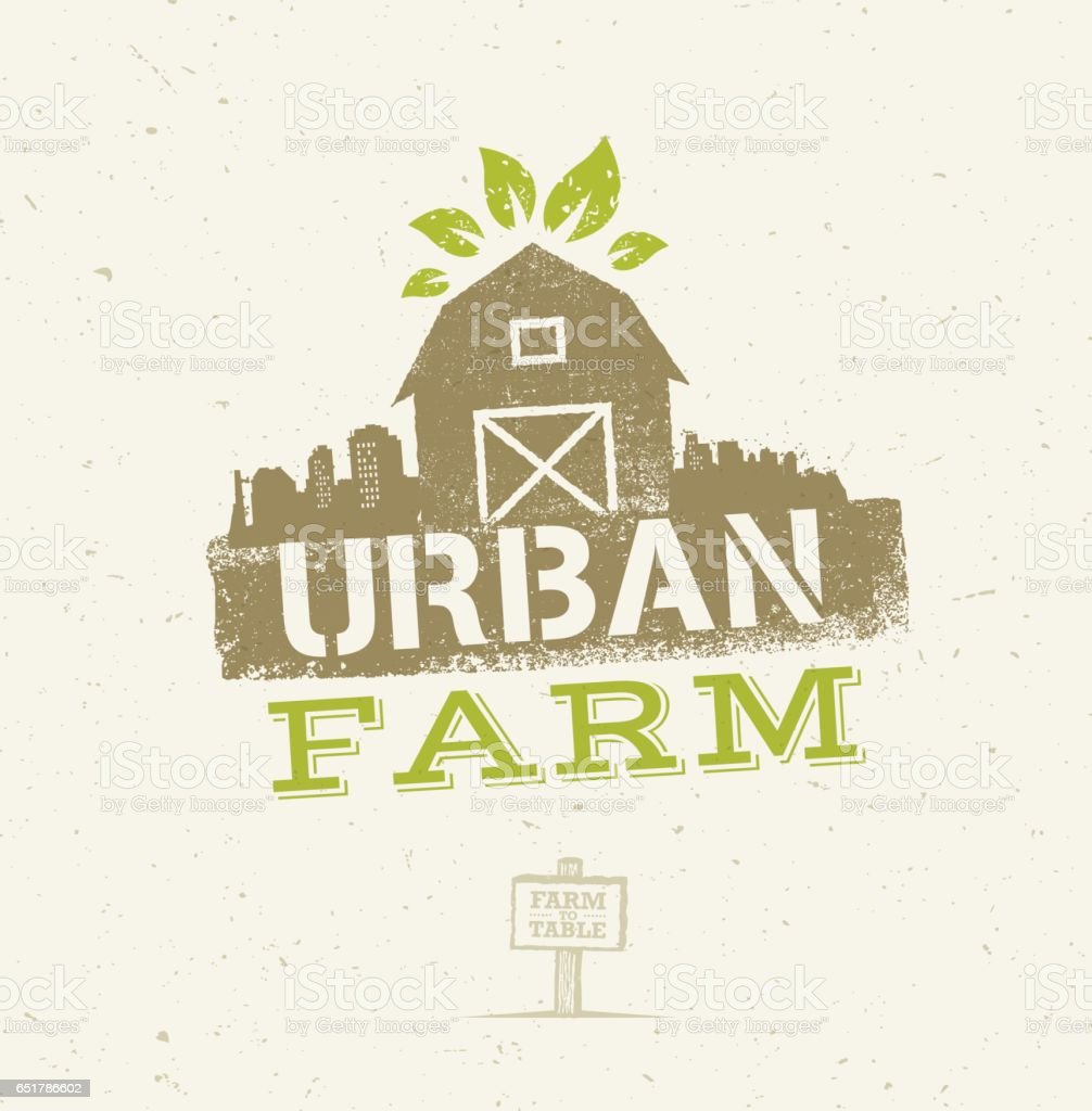 Urban City Farm Organic Eco Concept. Healthy Food Vector Design Element On Craft Paper Background vector art illustration