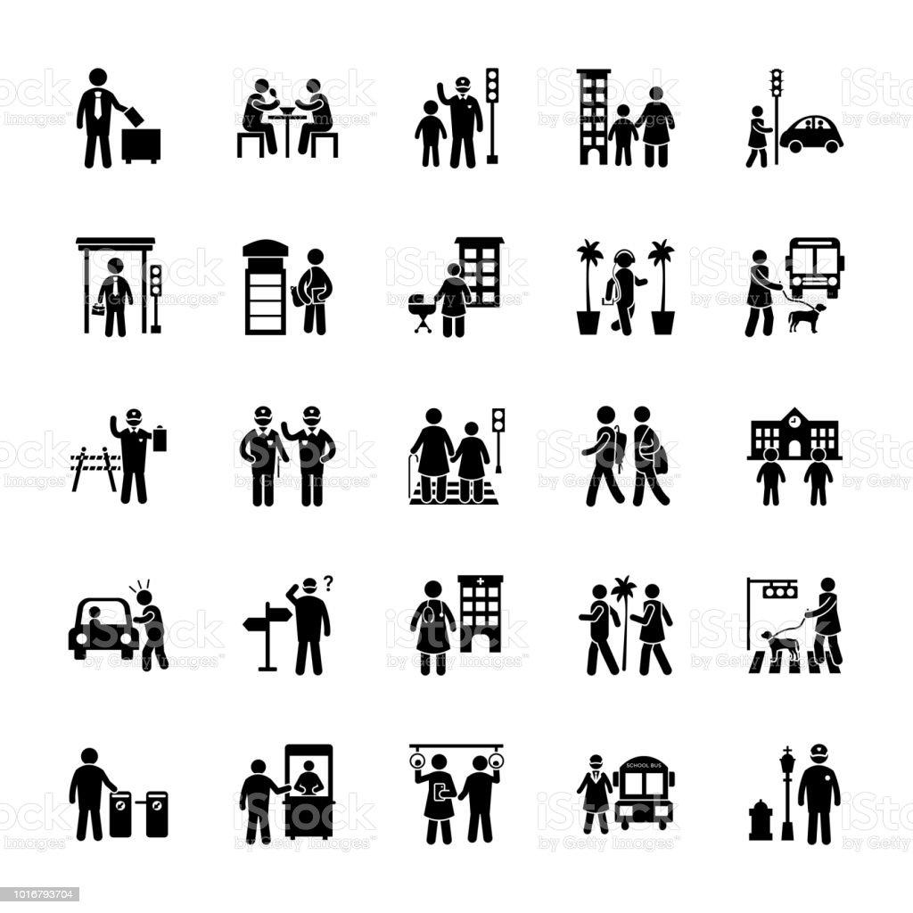Urban City Glyph Set vector art illustration