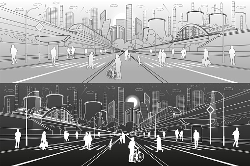 Urban City Infrastructure Illustration. People walking at street. Modern town. Train move on bridge. Illuminated highway. Factory thermal power plant. Monorail road. Vector design art