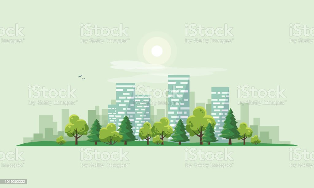 Urban City Landscape Street Road with Trees and Skyline Background - Royalty-free Aldeia arte vetorial
