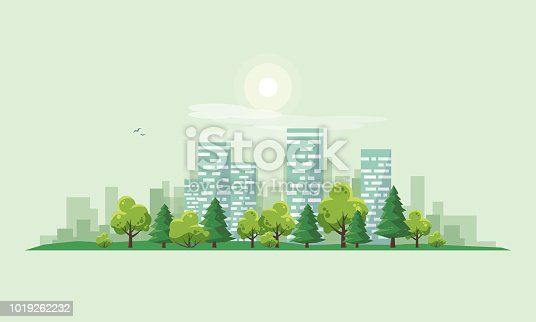 Flat vector illustration of urban road landscape street with city office house buildings and green trees on skyline background in cartoon style.