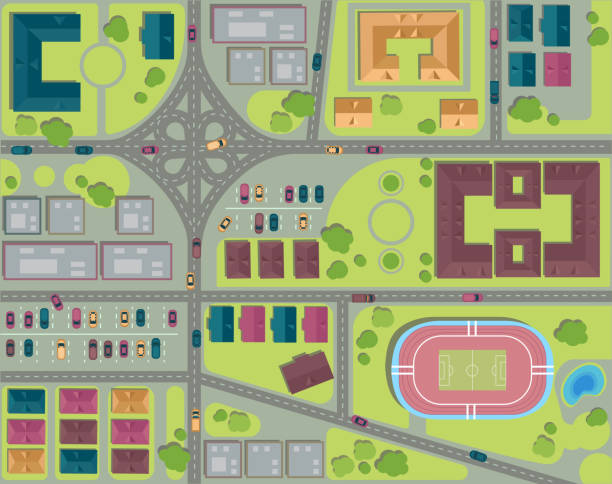 Urban City top view. View from above. Aerial vector art illustration
