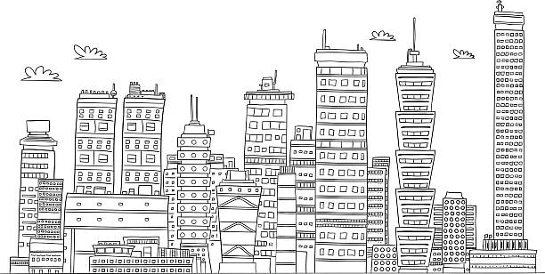 Royalty Free Black And White City Clip Art, Vector Images ...