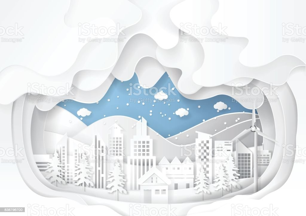 Urban cityscape on snow winter background.