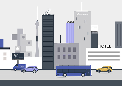 Urban cityscape, vehicles, buildings and billboards, big city life