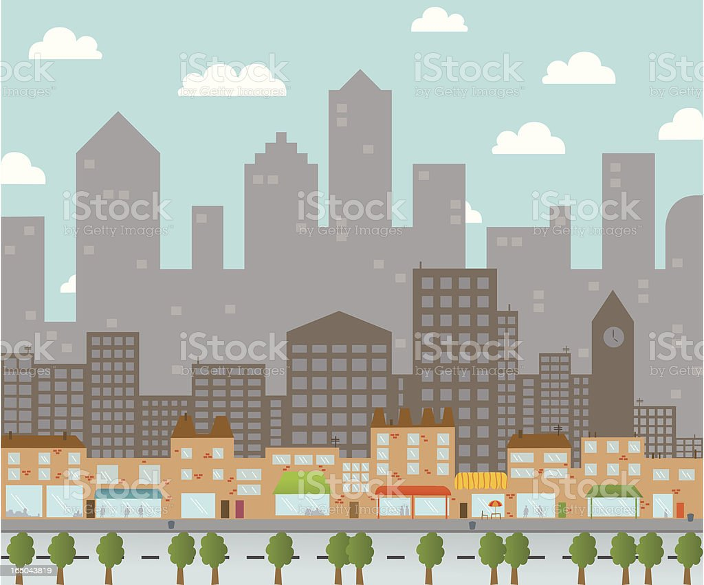 Urban Cityscape with Cafes and Shops vector art illustration