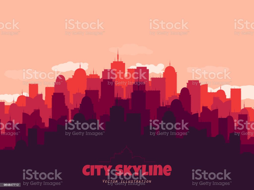 Urban concept. Silhouette of city skyline. Flat style town. Vector illustration royalty-free urban concept silhouette of city skyline flat style town vector illustration stock vector art & more images of abstract