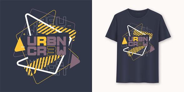 Urban crew abstract geometric graphic t-shirt vector design, typography