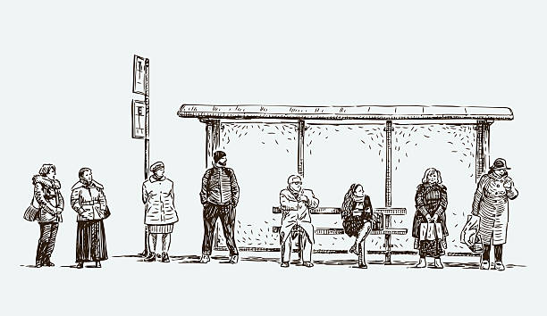 stockillustraties, clipart, cartoons en iconen met urban dwellers at the bus stop - bushalte