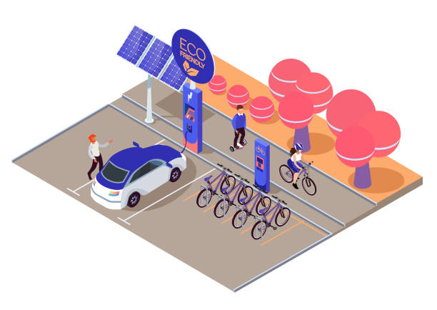 Urban eco transport isometric design concept with some available bicycles for rent at station and cashier machine for payment vector illustration. Eco car charging station, solar panels in park Urban eco transport isometric design concept with some available bicycles for rent at station and cashier machine for payment vector illustration. Eco car charging station, solar panels in park electric vehicle charging station stock illustrations