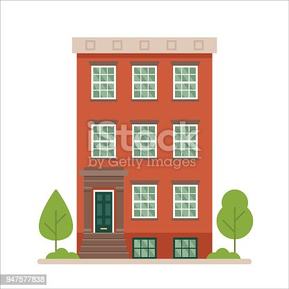 istock Urban family home classic brownstone building vector illustration 947577838