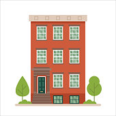 Flat vector illustration of urban family home/ classic apartment building isolated on white background.