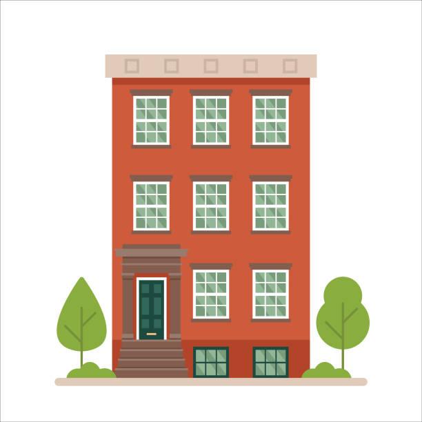illustrazioni stock, clip art, cartoni animati e icone di tendenza di urban family home classic brownstone building vector illustration - appartamento