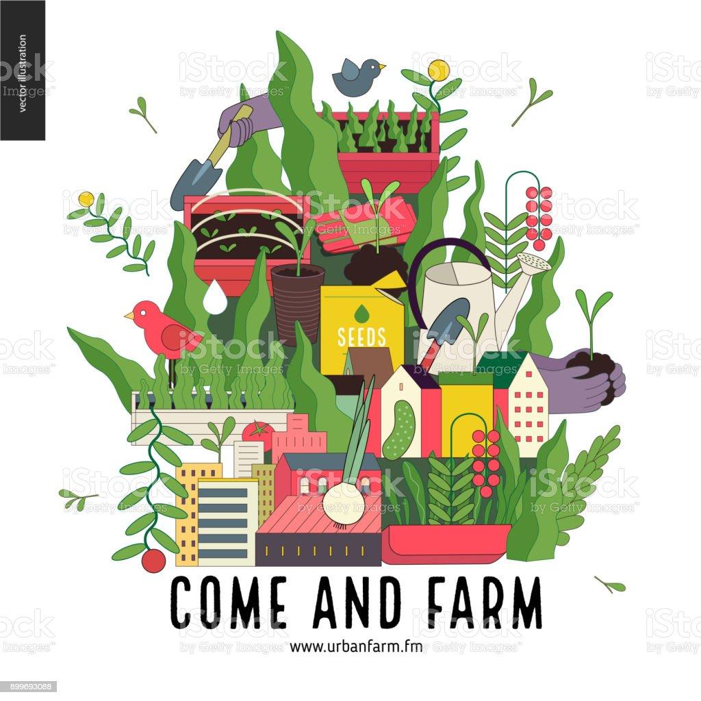 都市農業と園芸のコラージュ ベクターアートイラスト