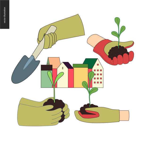 Urban farming and gardening hands set Urban farming, gardening or agriculture. Set of hands wearing the gauntlet holding sprouts and a scoop, and a block of town houses urban gardening stock illustrations